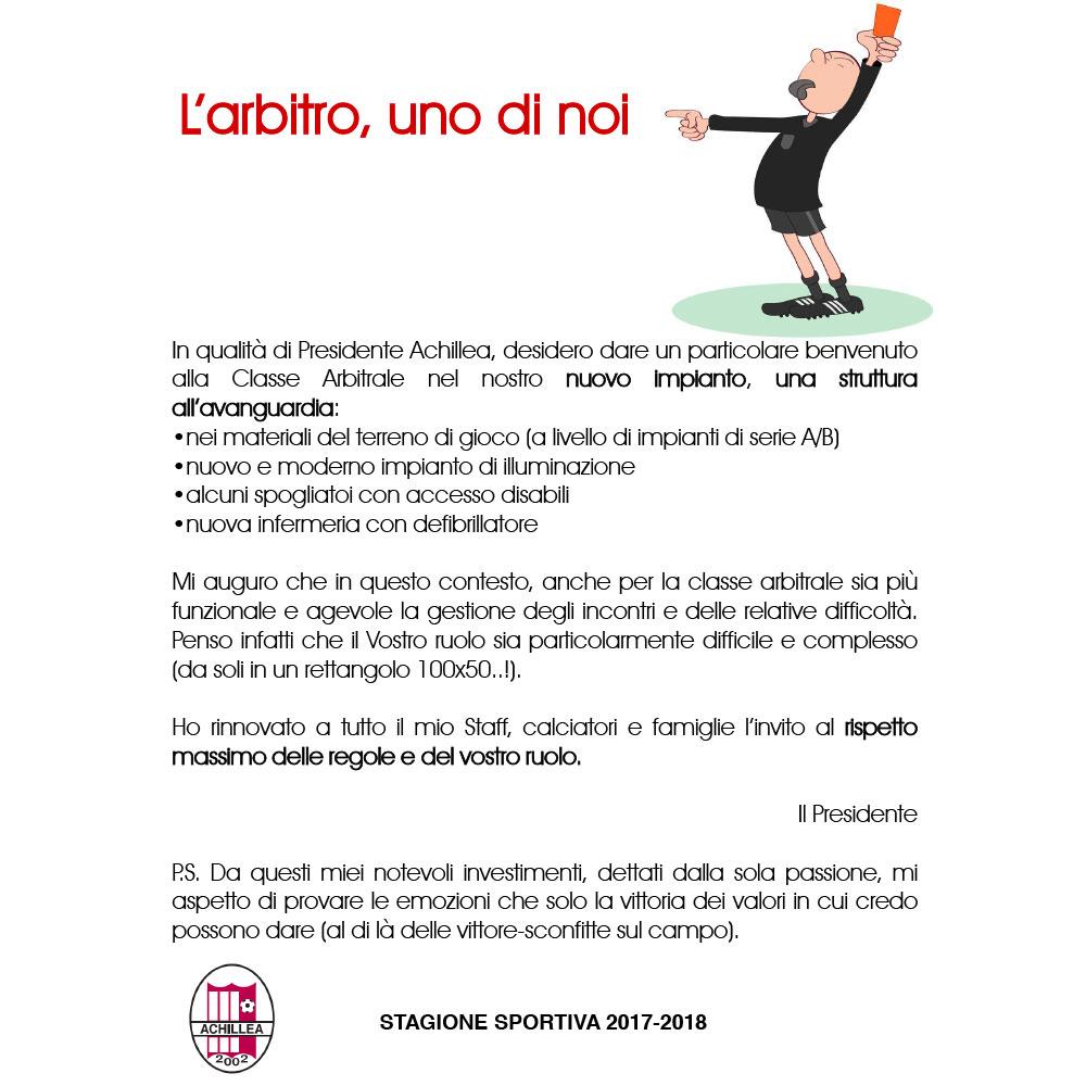 Campagna per i Valori dello Sport - Achillea 2002 insegna ai ragazzi il rispetto e il fair play, in campo e nella vita