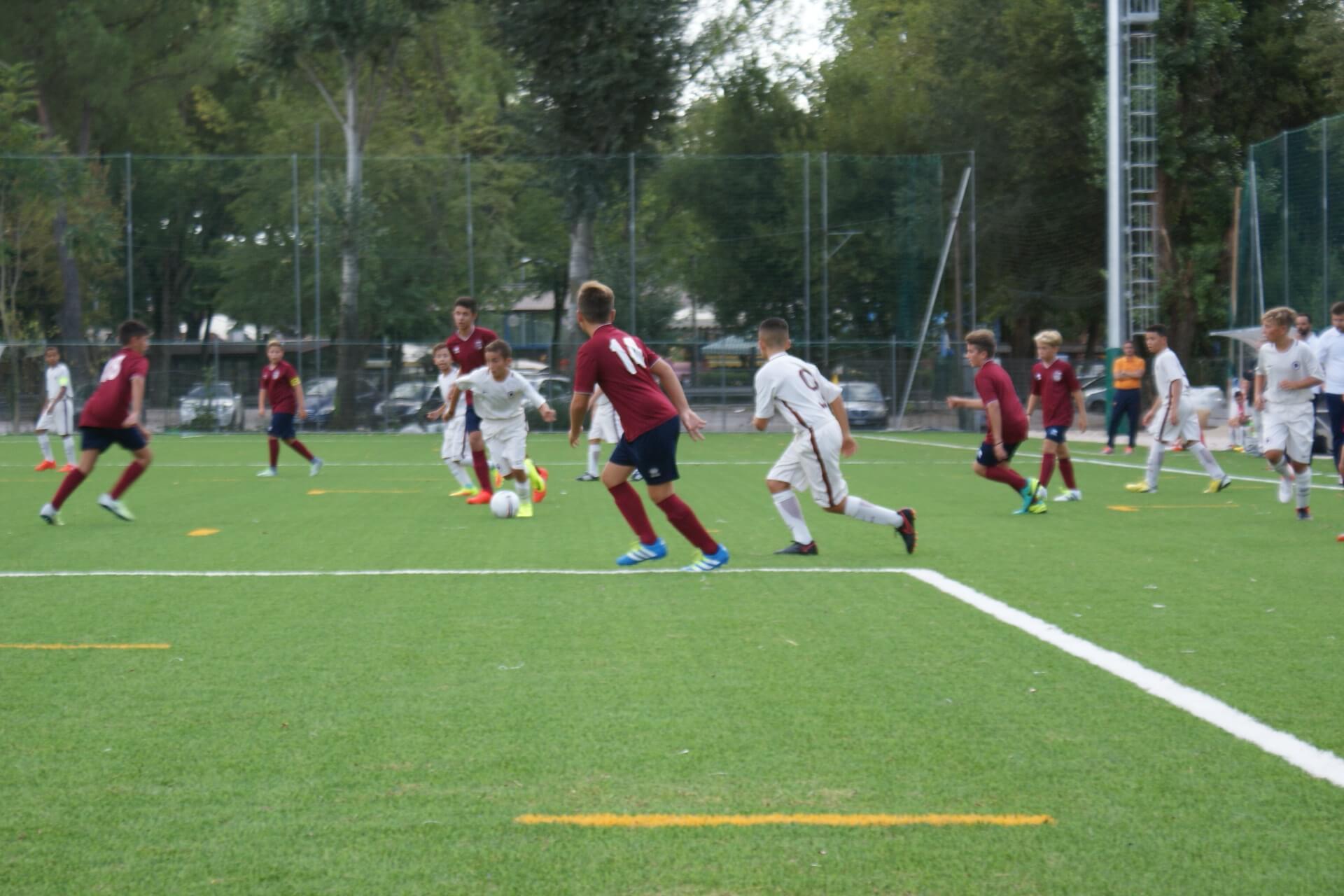 Incontro di calcio con squadra giovanile della AS Roma settore giovanile