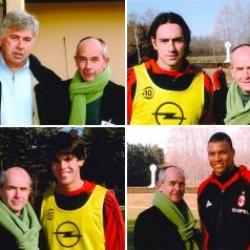 Il Presidente di Achillea 2002 Paolo Luzi a Milanello con il Mister Carlo Ancelotti e i giocatori Nesta, Kakà e Dida